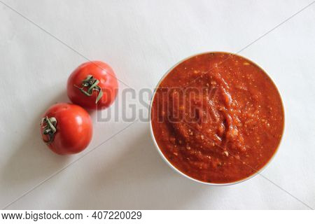 Homemade Pasta And Pizza Sauce, Prepared At Home As A Main Ingredient For Pastas And Pizzas.
