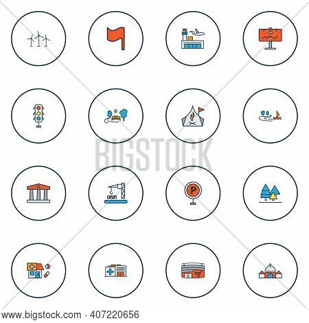 Public. Skyline Icons Colored Line Set With Forest, Parking Sign, Airport And Other Stoplight Elemen