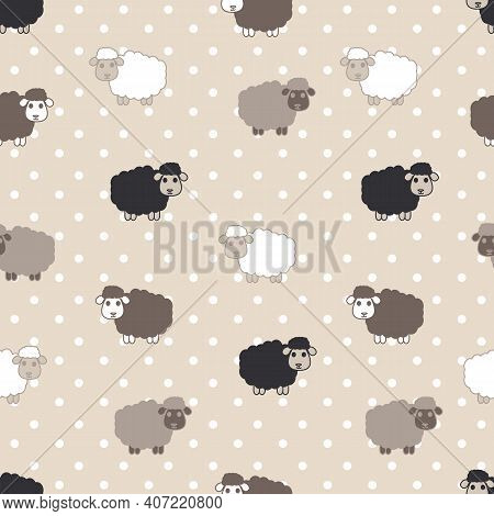 Counting Sheep Seamless Pattern Cute Sheep Illustrations