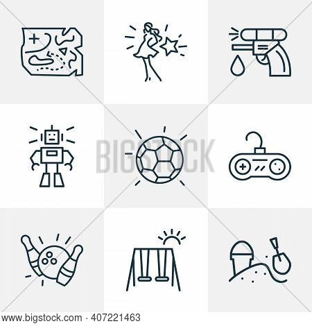 Games Icons Line Style Set With Water Gun, Sandbox, Barbie Playground Elements. Isolated Vector Illu