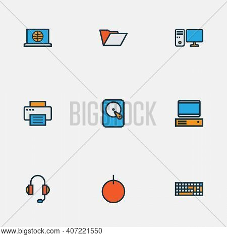 Hardware Icons Colored Line Set With Pc, Computer Keyboard, Hard Disk And Other Pc Elements. Isolate
