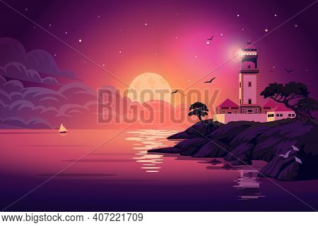 Lighthouse - Vector Landscape. Sea Landscape With Beacon On The Cliff At Night. Vector Horizontal Il