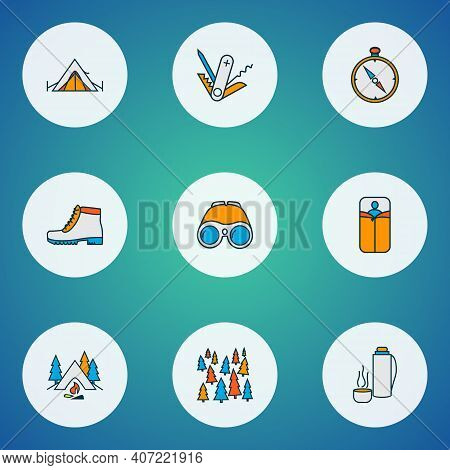 Tourism Icons Colored Line Set With Camping Boots, Compass, Swiss Knife And Other Navigation Element