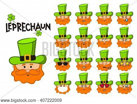 Set Of Different Emotions Of Leprechaun In Green Hat. Funny Hand Drawn Character. Vector Illustratio