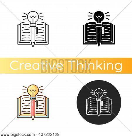 Creative Writing Icon. Improving Writing Skills Idea. Critical Thinking. Creativity Development. Abi