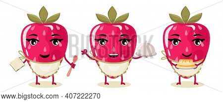 A Set Of Characters Cooked Strawberry Berry, Prepare A Cake According To The Recipe. Animated Cartoo