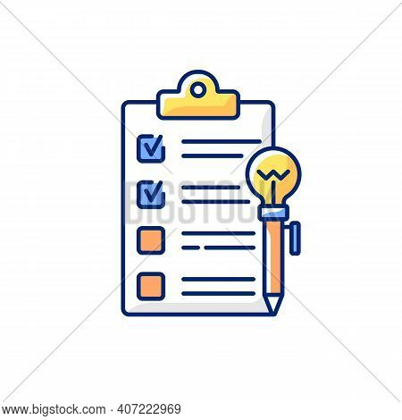 Agenda Worksheet Rgb Color Icon. Workshop Icon. Getting New Practical Skills. Time Management Tool.