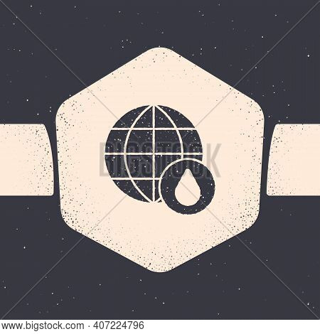 Grunge Earth Planet In Water Drop Icon Isolated On Grey Background. World Globe. Saving Water And Wo