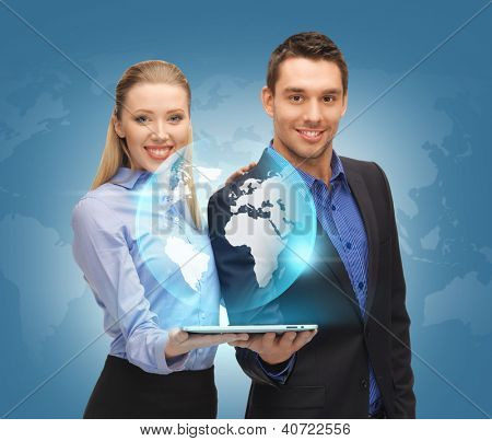 picture of man and woman with tablet pc and virtual globe.