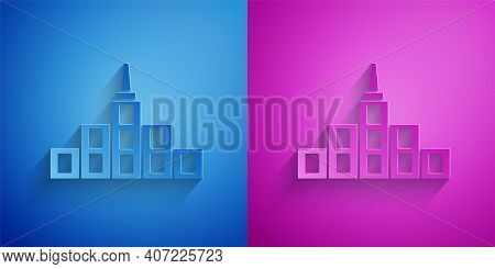 Paper Cut City Landscape Icon Isolated On Blue And Purple Background. Metropolis Architecture Panora