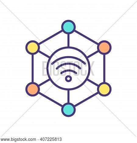 Sensorization Rgb Color Icon. Modern Technology Trend. Machine Inter-connectivity. Gathering Data Ab