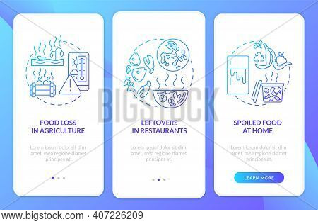 Biodegradable Waste Onboarding Mobile App Page Screen With Concepts. Farm Leftovers, Rotting Food Wa