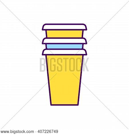 Disposable Cups Rgb Color Icon. Recyclable Cardboard. Disposable Paper Utensils. Biodegradable Paper