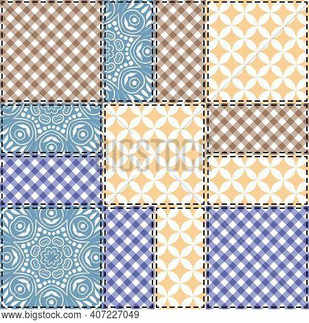 Patchwork Seamless Pattern. Vector Stock Illustration.