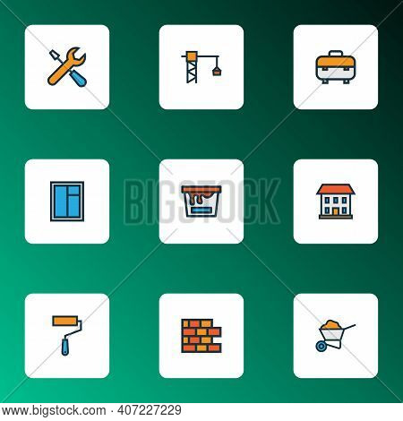 Architecture Icons Colored Line Set With House, Wheelbarrow, Brickwork And Other Casement Elements.