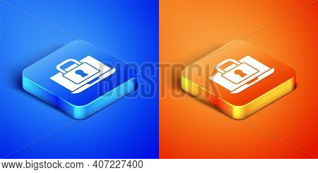 Isometric Laptop And Lock Icon Isolated On Blue And Orange Background. Computer And Padlock. Securit
