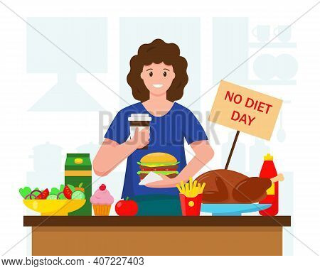 Happy Woman With Much Fast Food. No Diet International Day, Holiday Of Unhealthy Eating, People Choo