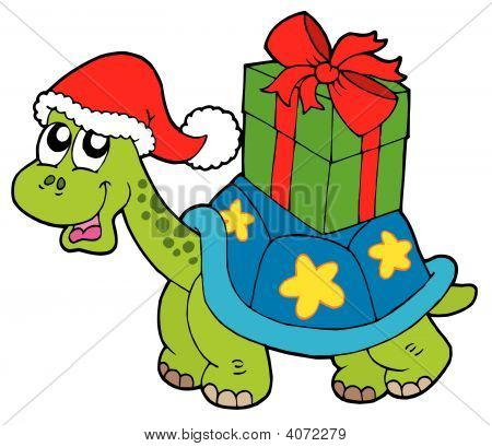 Christmas Turtle With Gift