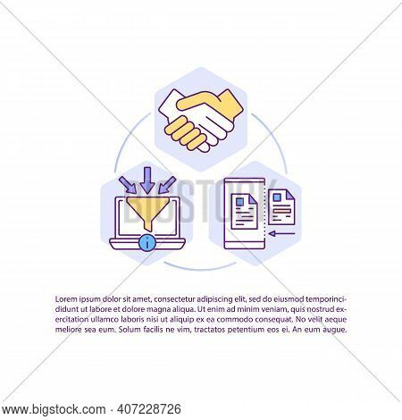 Software For Contract Management Concept Icon With Text. Creating, Executing, Signing Agreements. Pp