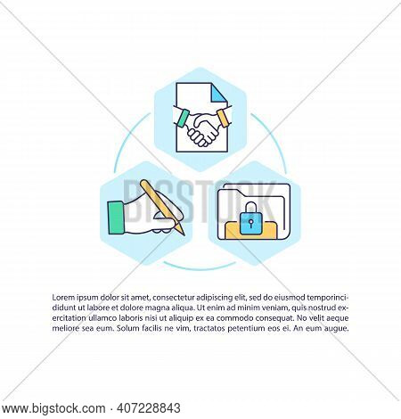 Initiation Contract Process Concept Icon With Text. Negotiation, Execution. Lifecycle Management. Pp