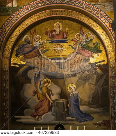 Lourdes, France, June 24 2019: Interior Of The Rosary Basilica In Lourdes, France. Annunciation To T