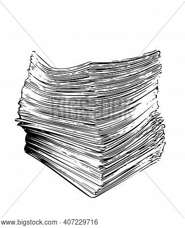 Stack Of Papers Sketch Drawing. Illustration Of Office Documents. Pile Of Printed Financial Forms, N