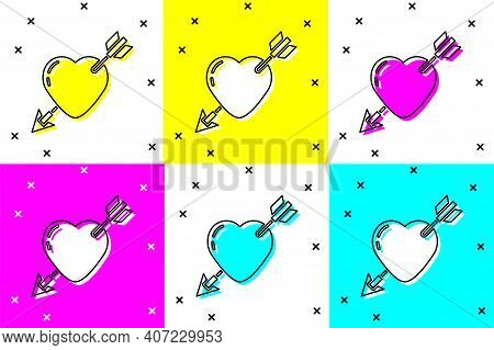 Set Amour Symbol With Heart And Arrow Icon Isolated On Color Background. Love Sign. Valentines Symbo