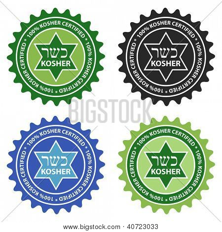 100% Kosher certified product labels.
