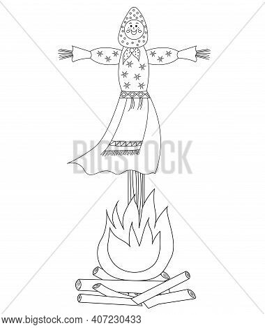 Traditional Effigy Burnt On The Feast Of Maslenitsa Or Shrovetide Coloring Page. Maslenitsa Doll Iso