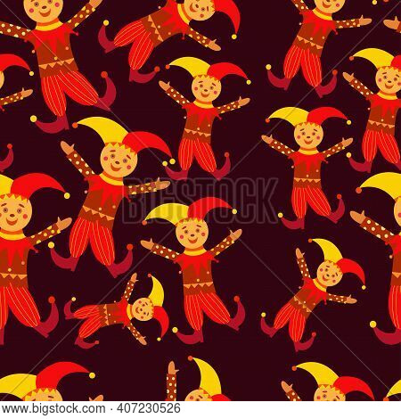 Russian Traditional Jester Seamless Pattern. Russian Buffoon On Maslenitsa. Skomoroh In Bright Cloth