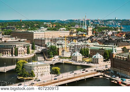Stockholm, Sweden. Great Church In Cityscape Skyline. Elevated View Of City Center.