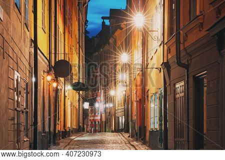 Stockholm, Sweden. Night View Of Traditional Stockholm Street. Residential Area, Cozy Street In Down