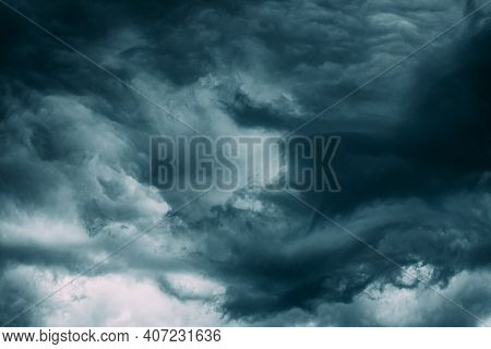 Stormy Sky Before Rain Thunderstorm. Storm Cloudy Sky Background.