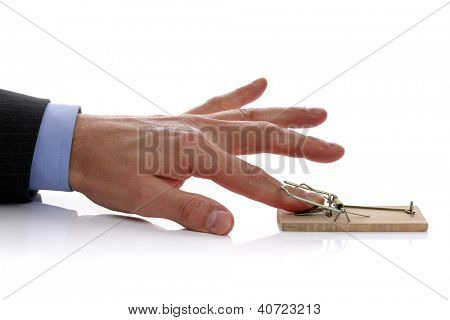 Caught in a mousetrap concept for temptation, corporate crime or accident