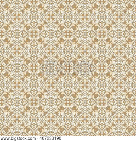 White Decorative Openwork Pattern On A Beige Background