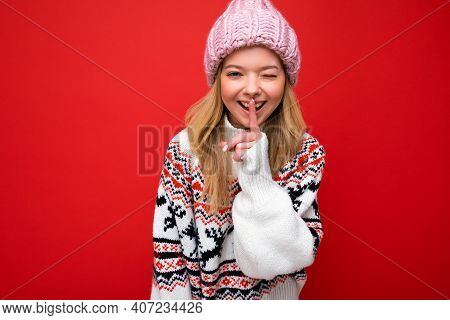 Photo Of Young Positive Happy Beautiful Blond Lady With Sincere Emotions Wearing Pink Knitted Hat An