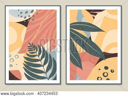 Botanical Set Vector Wall Art. Abstract Pattern Of Flowers And Branches For Collages, Posters, Cover