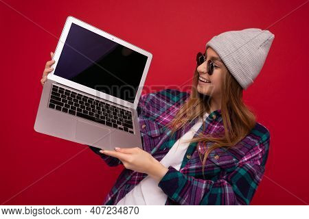 Portrait Photo Of Beautiful Laughing Funny Smiling Blond Young Woman Holding Computer Laptop With Em