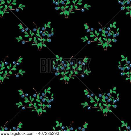 Vector Pattern With Blueberries On A Dark Background. For Printing On Textiles. Blueberry Sprigs Wit