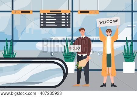 Male And Female Characters Are Waiting For Someone In The Airport Hall. Man And Woman Greet Someone