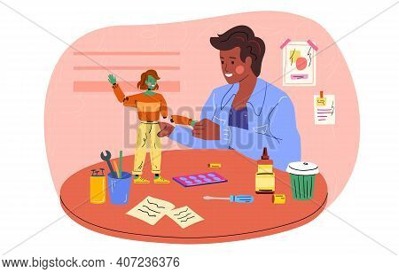 Male Character Is Creating Toys. Man Is Repairing Toy With Special Tools. Detailed Toy Is Being Asse