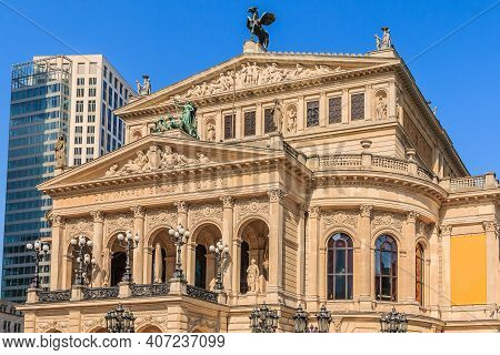 Historic Building Of The Old Opera House In Frankfurt In Springtime With Sunshine. Public Square In