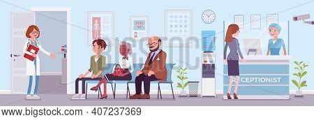 Hospital Reception Good Work In Clinic Hall To Help, Assist Patients. Doctor Or Physician Office, He