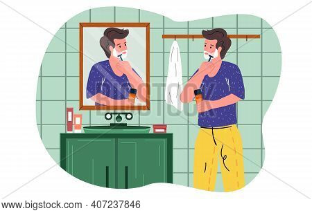 Male Character Standing Against Mirror And Shaving Beard. Man Uses Foam And Shaving Stick In Bathroo