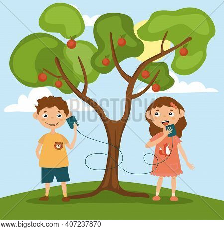 Little Girl And Boy Are Talking On Toy Phone. Two Smiling Kids Having Fun And Playing Near Big Apple