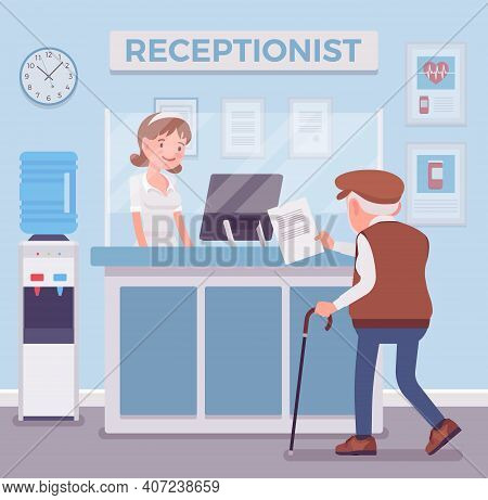 Hospital Receptionist Giving Old Man Information, Checking In For Appointment. Senior Person Visitin