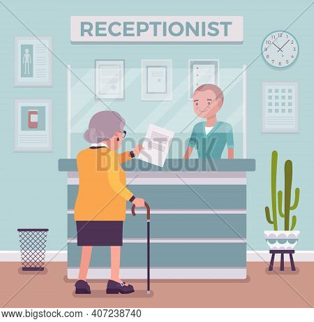 Hospital Receptionist Giving Old Woman Information, Checking In For Appointment. Senior Lady Visitin