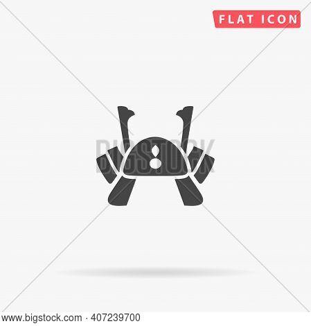 Samurai Helmet, Kabuto Flat Vector Icon. Hand Drawn Style Design Illustrations.
