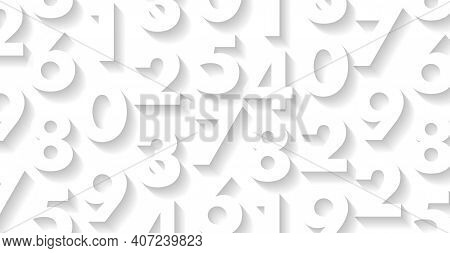 White Pattern With White 3d Numbers On It, Play Of Light And Shadow, Letters Forming Texture, Wallpa