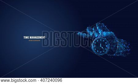 Digital Vector 3d Hand Holding Clock Or Stopwatch In Dark Blue. Time Management, Planning, Life Cont